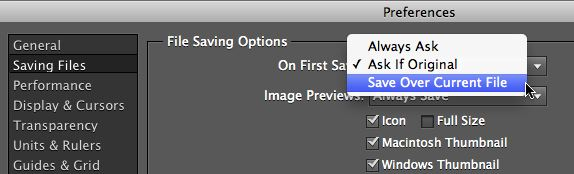 PSE saving files preferences