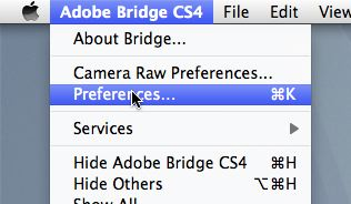 Location of Bridge preferences menu option
