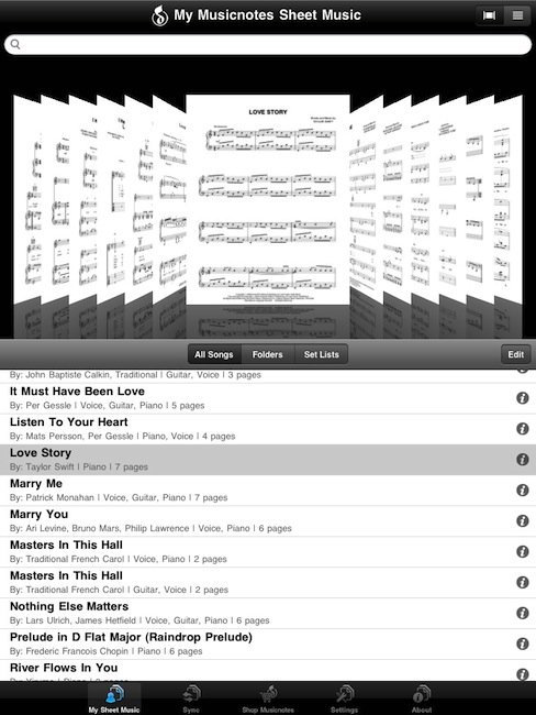 musicnotes main page