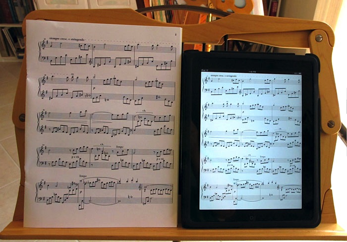 printed sheet music compared to iPad version