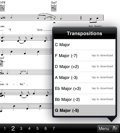 how to transpose music in musicnotes app