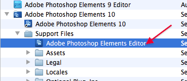 How to find the actual editor file in Photoshop Elements 10