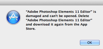Photoshop Elements is damaged.